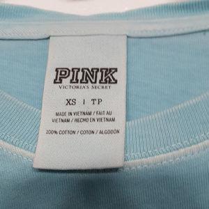PINK Victoria's Secret Tops - T shirt by Pink/VS lt. blue